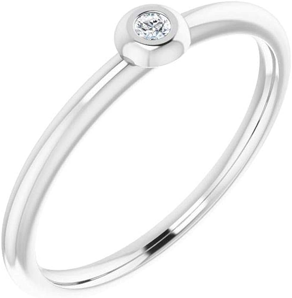Solitaire .03 Cttw Diamond Stackable Wedding Anniversary Ring Band Comfort Fit (Width = 7.8mm)