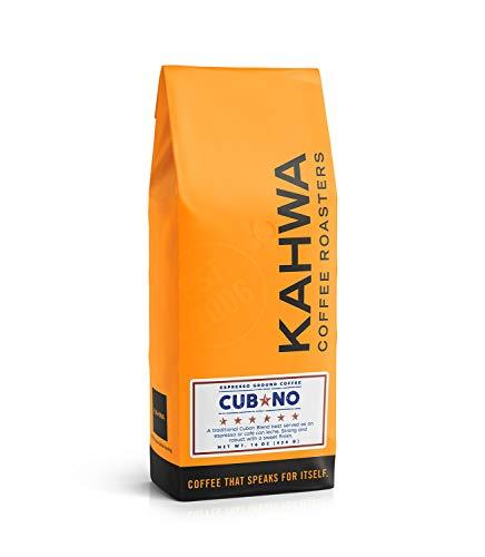 Kahwa Cuban Coffee Grounds, Cubano Dark Roast Espresso Blend, Ground Coffee, 1 lb Bag