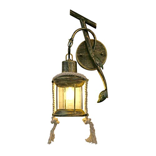Wandlamp Retro Smeedijzer Wandlampen Transparant Glas Lampenkap Personality Eetkamer Woonkamer Slaapkamer Balkon Zolder Verlichting Wandlamp