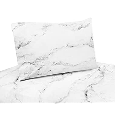 4 Piece Queen Sheet Set for Modern Grey, Black and White Marble Bedding Collection