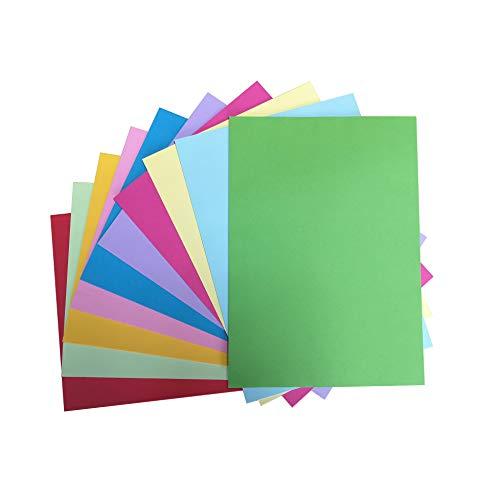 Papel de colores A4, 70 g/m², 10 colores, 100 hojas, papel de origami suave de doble cara, papel de copia de pastel reciclado, papel de manualidades y papel de color hecho a mano.