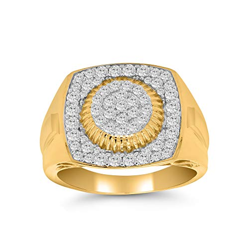 OMEGA JEWELLERY Round Natural Diamond Band Mens Pinky Ring in 14K Yellow Gold Finish (1.00 ctw, Clarity-I2, Color-J)