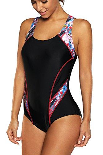 BeautyIns Womens One Piece Swimsuit Boyleg Swimwear Sports Boy short Swimming Costume, X-Large, Red