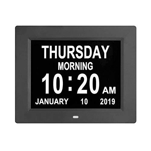 shenlanyu Despertador Decoración electrónica de día/Semana/Mes/año Digital Black