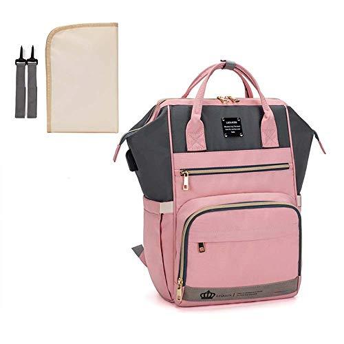 Wickeltaschen-Rucksack, großes Fassungsvermögen, wasserdicht, mit Kinderwagen-Haken und USB-Ladeanschluss