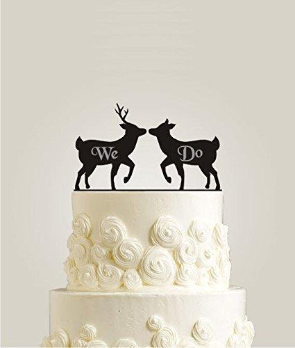 Laser Cut Engraved Cake Topper For Weddings We Do Wedding Cake Topper Deer Cake Topper Rustic Cake Topper Wooden Wedding Cake Topper Amazon Co Uk Kitchen Home