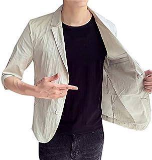 WEEN CHARM テーラードジャケット メンズ 7分袖 サマージャケット 細身 ジャケット 春夏 タイト ジャケット メンズ カジュアル ジャケット ビジネス ストレッチ ブラック ベージュ