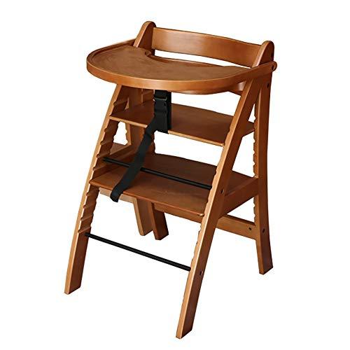 Chaises hautes en Bois avec Plateau, pour Bébé Ou Chaise De Bébé avec Coussin (Hauteur 11 Vitesses) (Couleur : Walnut Color)