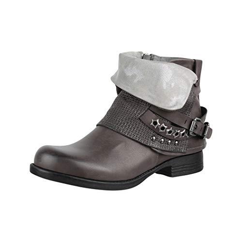Elara Mujer botas moteras | Impresiones metálicas con Hebillas | aspecto de piel remaches botines | forrados, color, talla 38 EU