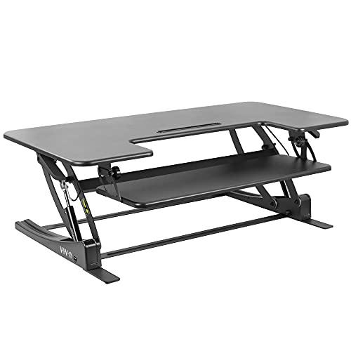 VIVO Height Adjustable 42 inch Stand Up Desk Converter, Quick Sit to Stand Tabletop Dual Monitor Riser Workstation, Black, DESK-V000VL