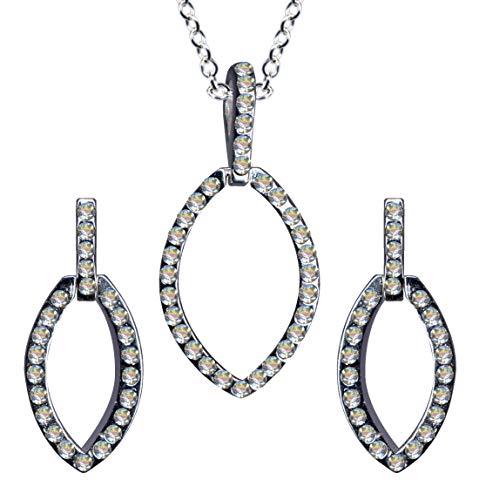 Juego de joyas de plata de ley 925, estilo modernista Art Nouveau pendientes + cadena + colgante collar cadena cadena plata colgante pendientes pendientes circonitas cristales Art Deco nuevo blanco