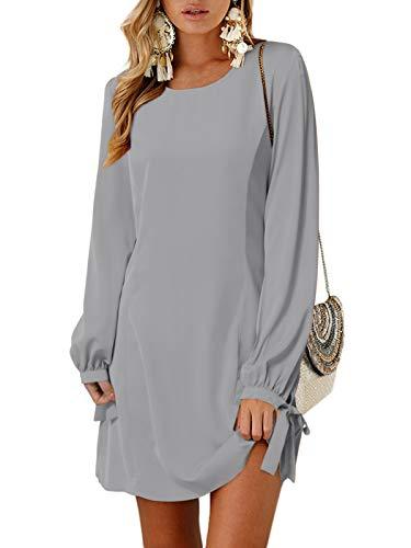 YOINS Sommerkleid Damen Kurz Tshirt Kleid Rundhals Kurzarm Minikleid Kleider Langes Shirt Lose Tunika mit Bowknot Ärmeln ,L,Langarm-grau