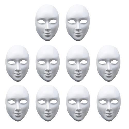matana - 10 Stück Weiße Maske zum Bemalen - aus Pappe