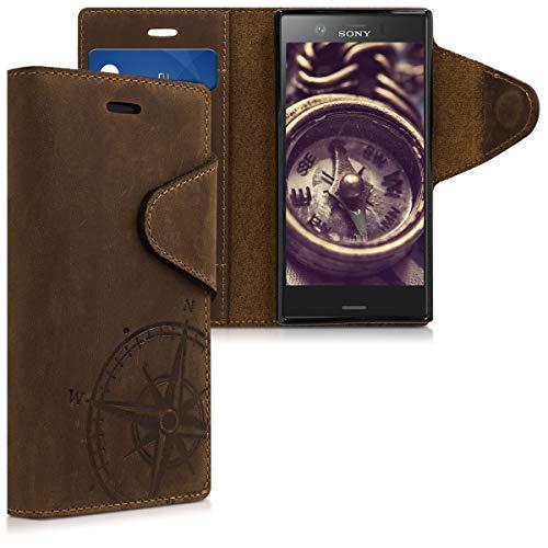 kalibri Sony Xperia XZ1 Compact Hülle - Leder Handyhülle für Sony Xperia XZ1 Compact - Handy Wallet Case Cover - Kompass Vintage Design Braun