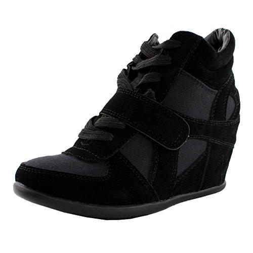 TOP Moda Womens Sammy-40 High Top Strap Womens Hidden Wedge Sneaker Shoes,Black,8