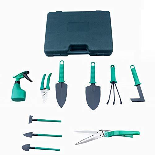 Juego de herramientas de jardinería Herramienta de planta de diez piezas verde, cuchillo de mango ergonómico y pulverizador de ajuste fino de tipo rastrillo, regalo de jardinería para dama con maleta