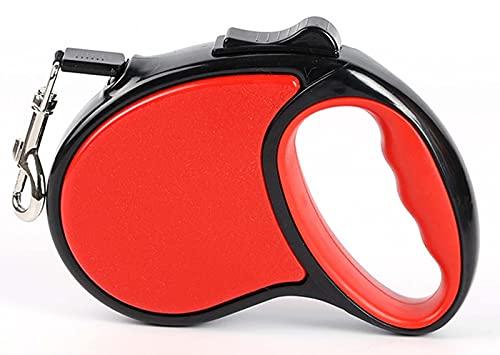 QDY -Correa Retráctil para Perros, 10 Pies / 16 Pies 360 ° Correa Resistente Sin Enredos para Perros Pequeños A Grandes De hasta 110 Libras, Bloqueo Y Rotura De Un Botón,6 Red,5m