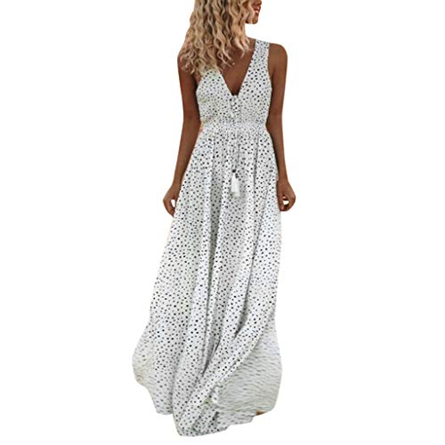 Woman Dress Jaminy Women Summer Sleeveless Dot Print Tassels Deep V Neck Long Beach Maxi Dress (White, Size:XL-UK:14)