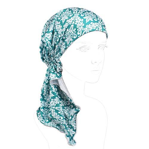 Junlinto vrouwen Chemo hoed Pre gebonden Turban hoofd sjaals hoofddeksels Beanie Coverings zomer - C#