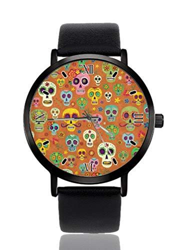 Reloj de pulsera para mujer con diseño de calavera de color de azúcar, ultra fino, extremadamente simple, analógico, pulsera para mujer, ultra fina, movimiento de cuarzo japonés