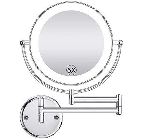 Namotu Kosmetikspiegel LED Beleuchtet wandmontage mit Ohne Bohren, 1x/5xFach Vergrößerung Schminkspiegel, mit Touch Button Einstellbar Licht, 360° Schwenkbar und Vertikal für Badezimmer, IP20
