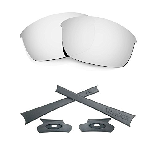 HKUCO For Oakley Flak Jacket Silver Polarized Replacement Lenses And Grey Earsocks Rubber Kit