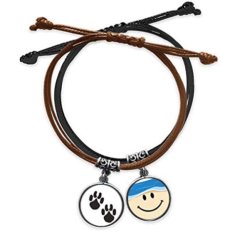 Bestchong Animal Cute Paw Print Outline Footprint Bracelet Rope Hand Chain Leather Smiling Face Wristband