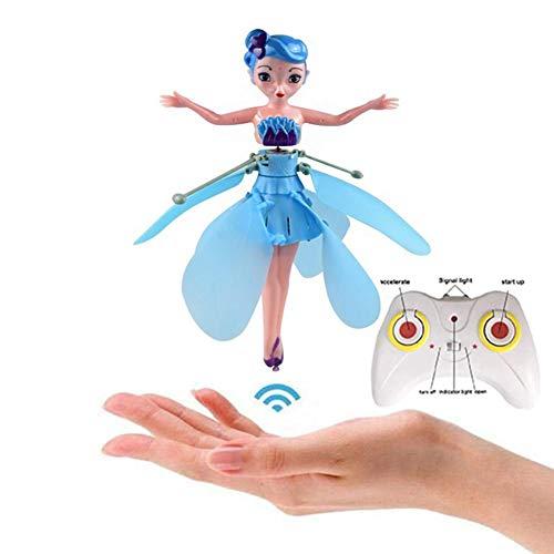 Desirabely Flying Princess con Control de Luces Inducción Infrarrojo RC Helicóptero Juguetes para niños Ballet Girl Us Cable de Carga Muñeca de Hadas Control Remoto Magic Shinning para niñas