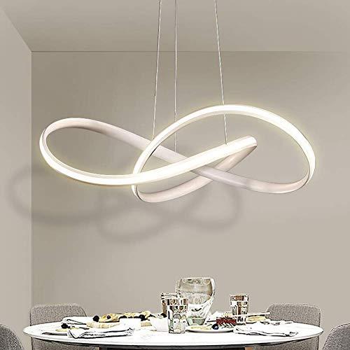 YSNJG Lampada A Sospensione A Soffitto Lampada A Sospensione Dimmerabile A LED Semplice Lampada da Tavolo da Pranzo Lampada da Cucina Lampada da Ristorante in Acrilico Lampada da Soggiorno,Bianca