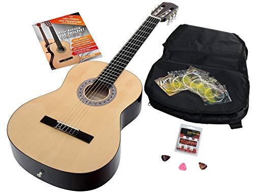 Calida Benita 4/4 Konzertgitarre Set inkl. Zubehör - Gitarre inkl. Gitarrentasche mit Schultergurt & Notenfach - Gitarrenschule mit CD & DVD, Stimmpfeife, Plektren, Ersatzsaiten - Natur