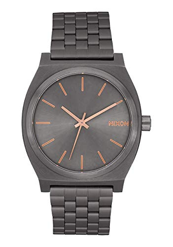 NIXON Time Teller A045 - All Gunmetal/Rose Gold - 100m Water Resistant Men's Analog Fashion Watch (37mm Watch Face, 19.5mm-18mm Stainless Steel Band)