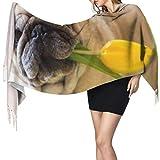 Châle de luxe Wrap Couverture Tulipe Mignon Chiot Chien Animal Écharpe Pas Cher Grande Écharpe En Cachemire Femmes Écharpes Léger 77 'x27' / 196x68cm Grand Pashmina Doux Extra Chaud