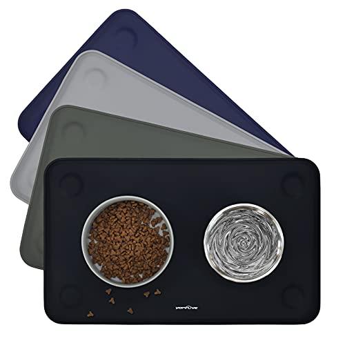 YOPINLIVE - Tappetino per cibo per cani e gatti, con ventose, in silicone impermeabile e antiscivolo, per gatti, cuccioli e cani medi, 50 x 30 cm (nero)