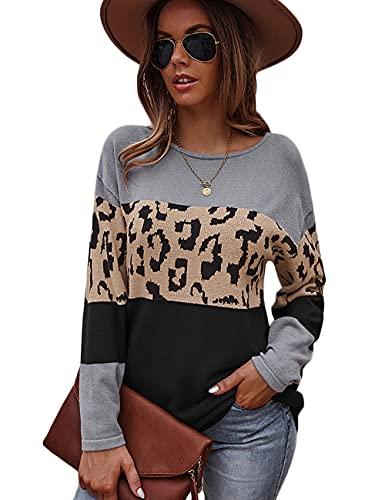 HESUUIO Leoparden - Jersey sexy de manga larga para mujer, cuello redondo, estilo casual, túnica, gris, L