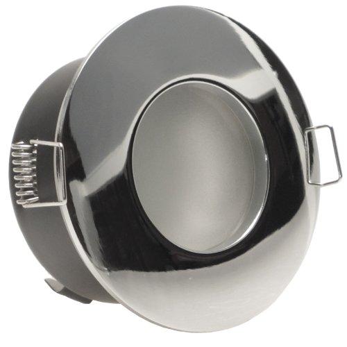 NAUTIC rund IP65 Chrom glänzend 3er Set Decken Einbaustrahler ultra flach 50 mm 230V LED dimmbar ca. 5W in 3 Stufen dimmen ohne Dimmer Warmweiss 3000k Bad Feuchtraum