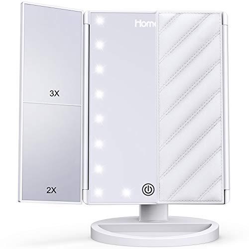 HOMEVER Schminkspiegel 4 Einzelheiten Kosmetikspiegel Tischspiegel mit LED Lampenperlen Faltbar Dimmbar Makeup-Spiegel 180 Grad Einstellbar für Verschiedene Make-Up-Winkel 1X 2X 3X Weiß