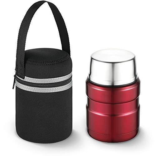 Siegvoll Schutzhülle für Thermos Stainless King Speisegefäß, Tragbare Lunchtasche für 0,47L Thermobehälter, Tauchen Stoff Tasche Schützt vor Kratzern, 9.5 * 15 cm, Schwarz (ohne Flasche)
