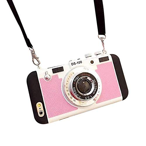 MHLYY 3D Phone Case Vintage Camera, Modern 3D Retro Camera Design Silicone Phone Cover with Long Strap Rope for iPhone 11 PRO MAX/X/XS/MAX