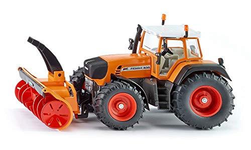 siku 3660, Traktor mit Schneefräse, 1:32, Metall/Kunststoff, Orange, Zu öffnende Motorhaube, Abnehmbare Kabine