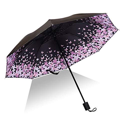 Sonnenschirm, Sonnenschirm, Regen und UV-Schutz kann Regenschirm Werbegeschenke gefaltet Werden Tragbare kompakt (Color : Flower, Size : 58cm*8k)