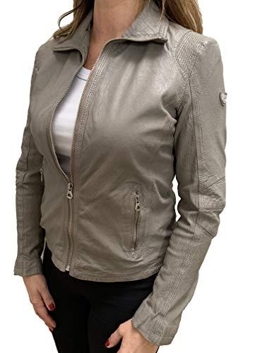 Gipsy Damen Lederjacke mit dekorativen Ziernähten im Biker Look (M, Light Grey)