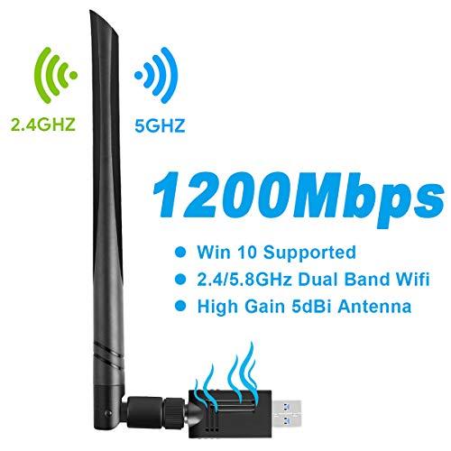 Adattatore WiFi USB - Gaoni AC 1200Mbps Chiavetta WiFi USB Scheda di Rete Antenna Dual Bande 5.8GHz / 2.4GHz, USB 3.0,Antenna 5dBi Compatibile con Windows XP/Vista / 7/8 /10, Mac OS 10.6-10.14