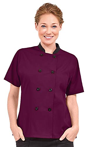 Women's Lightweight Short Sleeve Chef Coat (XS-3X, 3 Colors) (Large, Wine/Black)