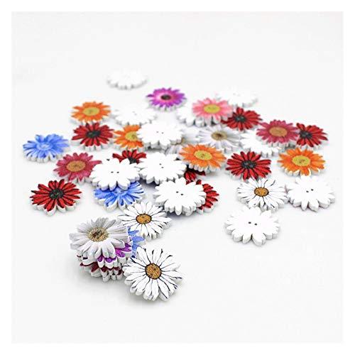 lliang Botones 50 unids / 20 mm Botón de crisantemo pequeño 2 Agujeros Botones de Madera Decorativo Scrapbooking Craft para Accesorios de Libro de Recuerdos (Farbe : Mixed Color)