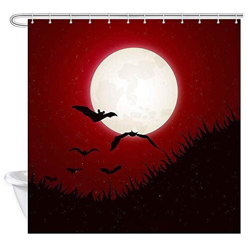 Aliyz Halloween Fledermaus Bad Duschvorhänge Gothic Red Forest mit Mond Scary Animals Fledermäuse Polyestergewebe Halloween Duschvorhang Wasserdicht Fledermäuse Bad Vorhang mit 12 Haken 71X71in