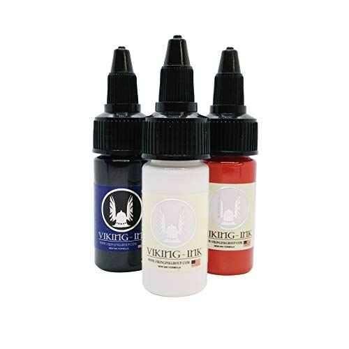 Tinta para tatuaje - KIT BLACK LINER + WHITE ULTRA + RED 0.5oz (15ml) - VIKING INK USA - Los mejores colores y negros en tintas para tatuaje del mercado - VEGANAS