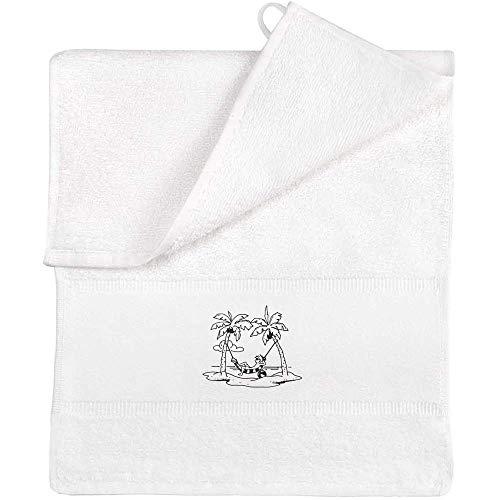 Azeeda 'Palm Trees Hammock Man' Flannel / Guest Towel (TL00027379)