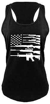 Ladies Racerback Tank Gun American Flag Shirt Patriotic USA Pride Tee Black S