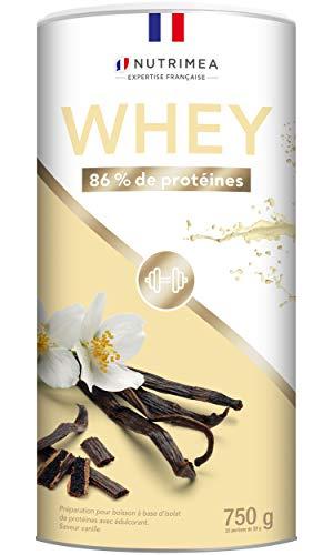 Proteína Whey en Polvo - Suero de leche - Para Entrenar, el Crecimiento Muscular, el Rendimiento, la Recuperación - Sabor a Vainilla - 26 g de proteína por porción - Nutrimea - Fabricado en Francia