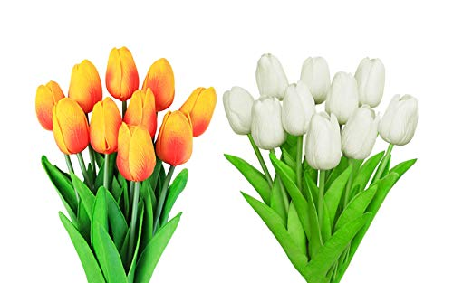 CAILI Flores Artificiales,Tulipán Flor Falsa,Flores Artificiales Decorativas para Ramos de Boda, Hogar, Hotel, Jardín(Blanco 10pcs + Rojo Atardecer 10pcs)